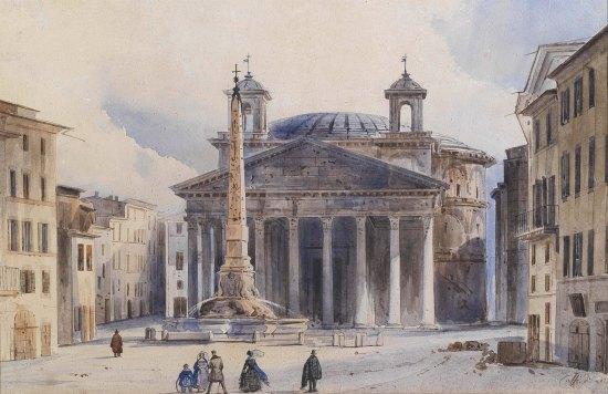Vue du Panthéon de Rome. Peinture d'Ippolito Caffi