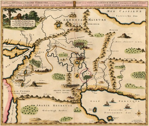 Carte de la Situation du Paradis Terrestre par Pierre Mortier
