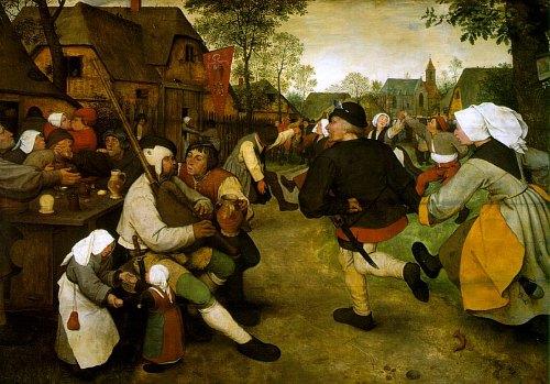 Danse des paysans. Peinture de Pieter Bruegel l'Ancien (1568)