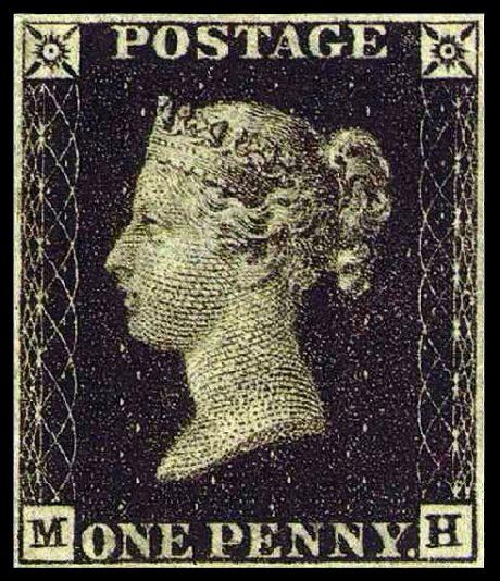 Le One penny noir, dit Penny Black, 1840