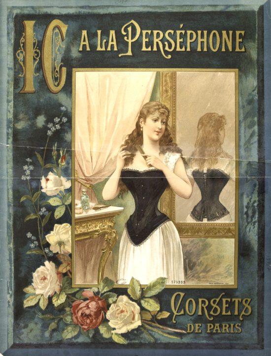 A la Perséphone. Corsets de Paris. Affiche publicitaire de 1889