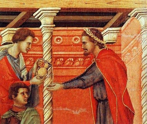 Pilate se lave les mains (par Duccio di Buoninsegna)