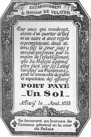 Instruction de 1653 relative au billet de port payé