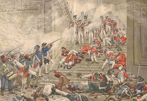Prise des Tuileries le 10 août 1792. Peinture de Henri Motte