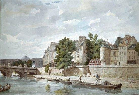 Quai des Orfèvres en 1850. Aquarelle de Louis Masson