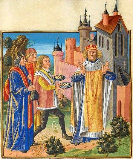 Laïques et clergé apportant des richesses à un roi qui soulève ses mains en refus