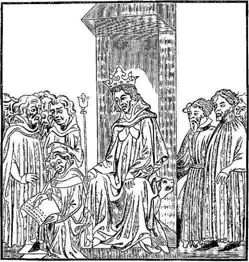 Le roi des Francs au milieu des chefs militaires formant sa cour armée