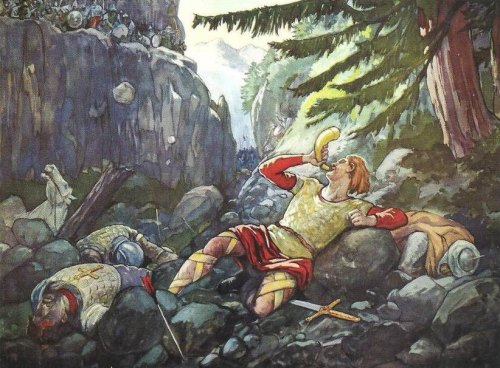 Roland sonnant du cor à Roncevaux