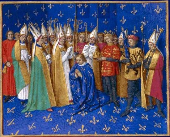 Enluminure extraite des Grandes Chroniques de France, par Jean Fouquet (vers 1460)
