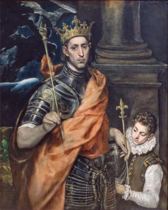 Saint Louis roi de France, et un page. Peinture de Domenikos Theotokopoulos dit El Greco (vers 1590)
