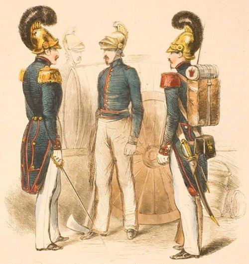 Sapeurs-pompiers du temps de la Monarchie de Juillet (1830-1848). Gravure (colorisée) publiée dans Les Français peints par eux-mêmes paru en 1842