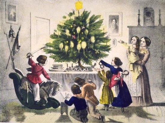 Enfants jouant avec leurs cadeaux et sapin au XIXe siècle