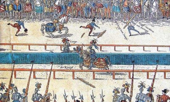 Tournoi durant lequel Henri II fut mortellement blessé. Gravure du XVIe siècle