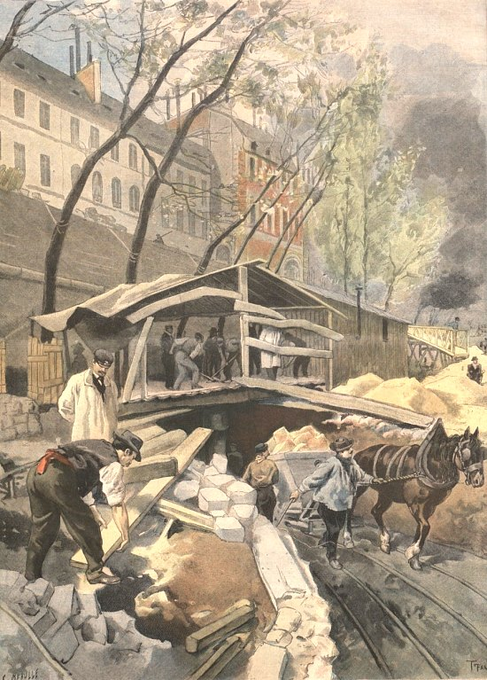 Travaux de construction du métropolitain en 1899