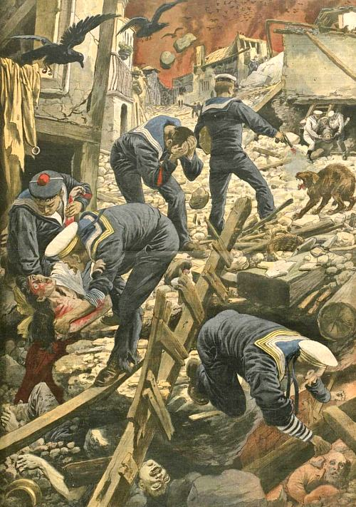 Catastrophe de Sicile et de Calabre le 28 décembre 1908. Les marins des escadres de la Méditerranée recherchant les victimes parmi les ruines de Messine.