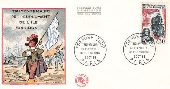 Émission en 1965 d'un timbre célébrant le tricentenaire du peuplement de l'île Bourbon (1665) par vingt ouvriers français envoyés par la Compagnie des Indes Orientales