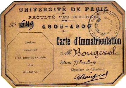 Carte d'immatriculation de l'Université de Paris 1905-1906