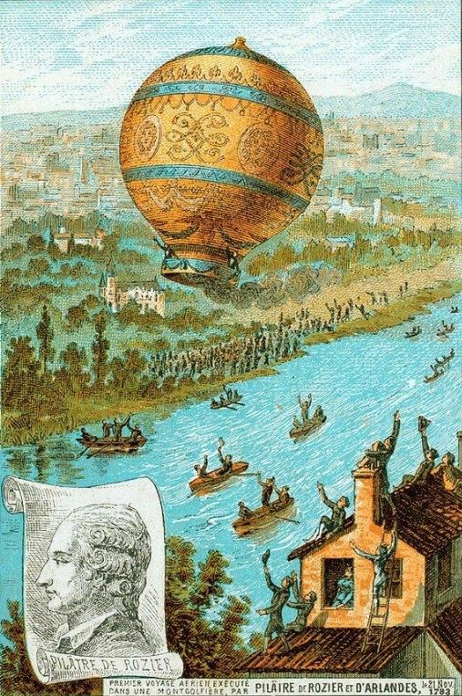 L'aérostat longe la Seine avec, à son bord, Pilâtre de Rozier et le marquis d'Arlandes, le 21 novembre 1783