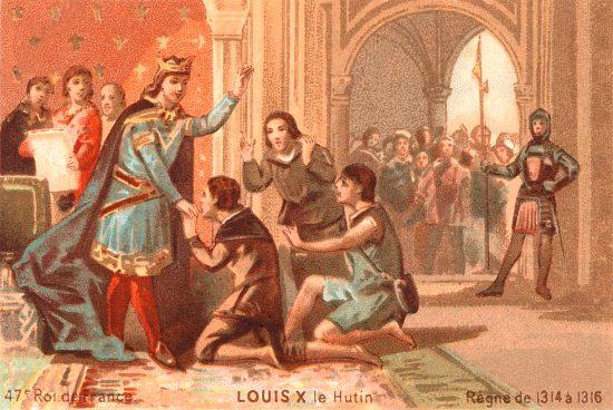 Louis X le Hutin (frère aîné de Philippe V) affranchissant les serfs en 1314. Lithographie extraite d'une série sur les rois de France de 1890