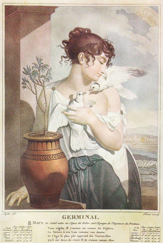 Allégorie pour germinal. Gravure de Salvatore Tresca (1750-1815) d'après un dessin de Louis Lafitte (1770-1828)