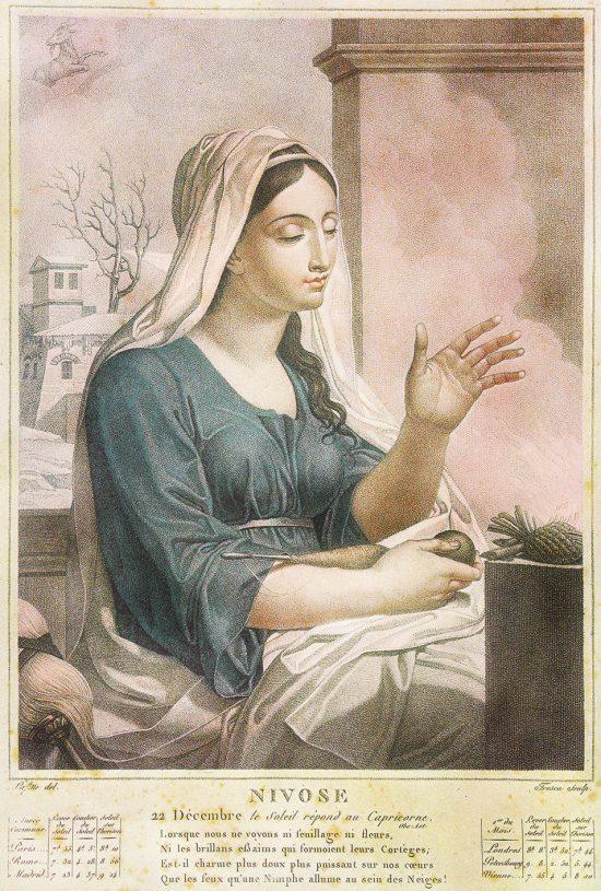 Allégorie pour nivôse. Gravure de Salvatore Tresca (1750-1815) d'après un dessin de Louis Lafitte (1770-1828)