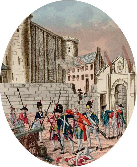 Arrestation du gouverneur Bernard-René Jourdan de Launay lors de la prise de la Bastille le 14 juillet 1789. Gravure de Martial Deny (1789)
