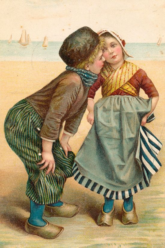 Le baiser. Chromolithographie de 1909