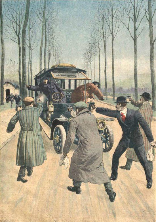 Le 25 mars 1912, le trio constitué de Bonnot, Garnier et Callemin, accompagnés de Monnier, Valet et Soudy, se prépare à voler une limousine De Dion-Bouton. Illustration parue dans le Supplément illustré du Petit Journal du 7 avril 1912