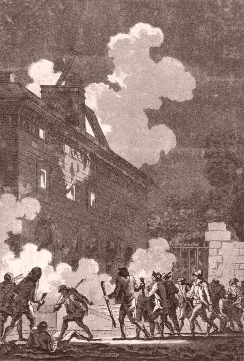 Incendie de la nouvelle barrière des Gobelins le 12 juillet 1789. Gravure de Jean-François Janinet (1752-1814)
