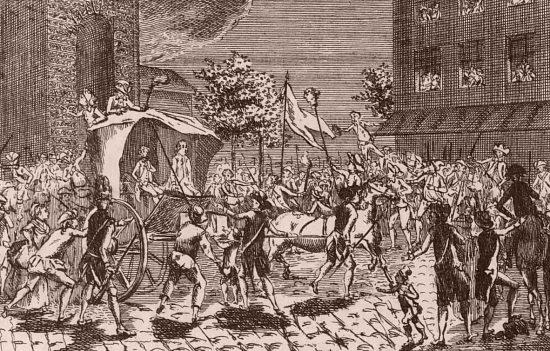 Entrée de Louis-Bénigne-François Bertier de Sauvigny en cabriolet à Paris, par la porte Saint-Martin, le 23 juillet 1789, le lendemain de son arrestation près de Compiègne. Le peuple lui montre la tête de Foulon de Doué fichée sur une pique. Estampe du temps