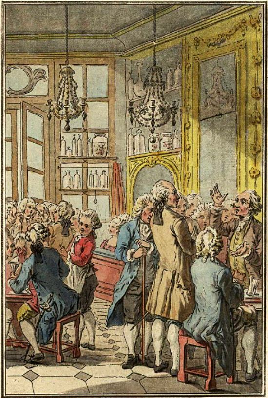 Le café Procope au XVIIIe siècle. Estampe (colorisée ultérieurement) anonyme de 1779