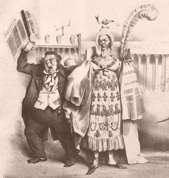 La Moniteur, et son garçon de bureau. Détail d'une illustration satirique relative à la presse et parue dans La Caricature morale, politique et littéraire du 26 septembre 1833 sous le titre de Les f(eu)illes publiques et leurs souteneurs