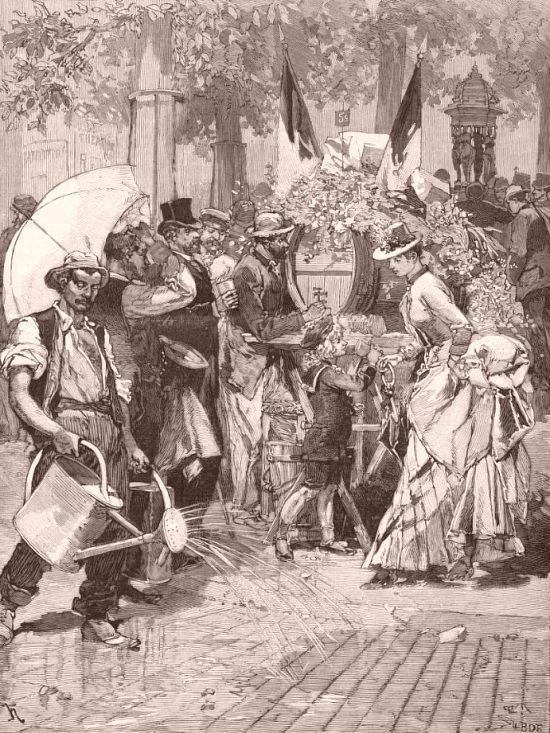 Paris pendant la canicule de 1884 : place du Théâtre-Français. Illustration de couverture du Monde illustré du 23 août 1884