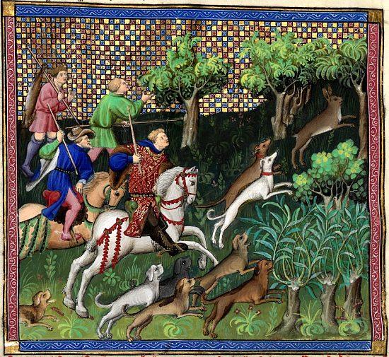 Ci après devise comment le bon veneur doit chasser et prendre le lièvre à force. Enluminure extraite du Livre de chasse composé entre 1387 et 1389 par Gaston Fébus