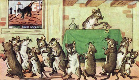 Illustration de 1910 de la fable de La Fontaine intitulée Conseil tenu par les Rats (Livre II, fable 2)