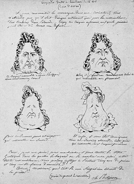 Louis-Philippe en poire. Croquades faites à l'audience du 14 novembre 1831 par Charles Philipon