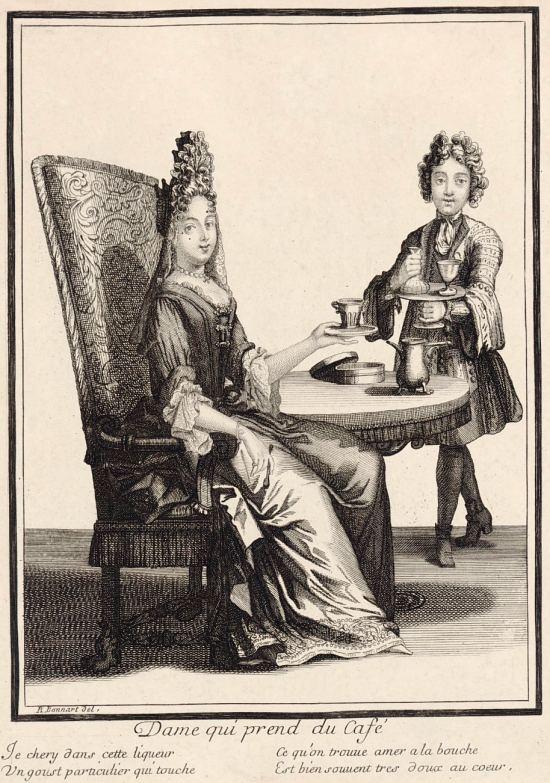 Dame qui prend du café. Gravure de Robert Bonnart réalisée vers 1695