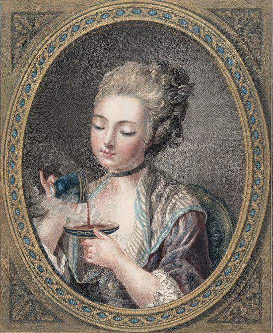 Dame prenant un café. Manière de pastel de Louis-Marin Bonnet (1774)