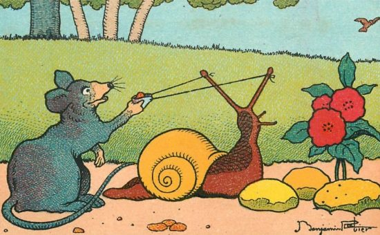 Le rat et l'escargot : le lance-pierre. Illustration de Benjamin Rabier