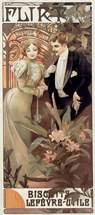 Flirt. Biscuits Lefèvre-Utile. Affiche publicitaire de 1899-1900 réalisée par Alphonse Mucha
