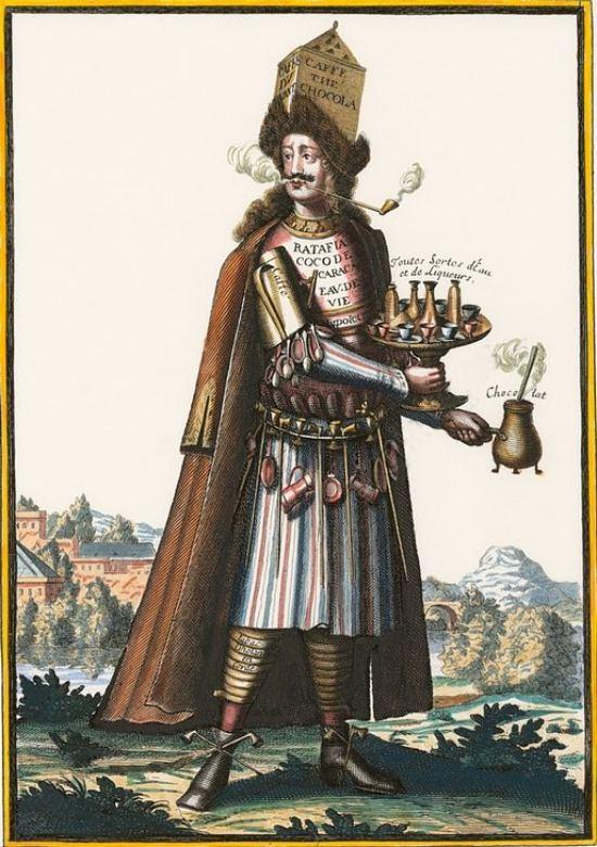 Habit de Caffetier (vêtement allégorique avec attributs professionnels). Gravure (colorisée ultérieurement) de Nicolas de Larmessin (1632-1694) extraite de la série Les costumes grotesques : habits des métiers et professions publiée en 1695