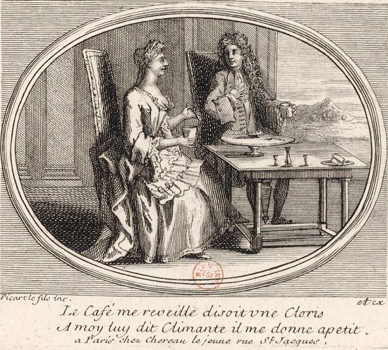 Un homme et une femme prenant du café. Gravure de Bernard Picart réalisée vers 1720