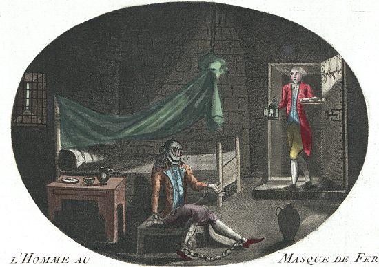L'homme au masque de fer. Gravure anonyme de 1789 présentant le prisonnier mystérieux comme le fils illégitime de Louis XIV