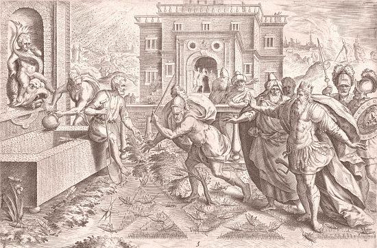 L'invasion de sauterelles. Gravure réalisée vers 1585 par Jan Sadeler d'après un dessin de Maarten van Cleef
