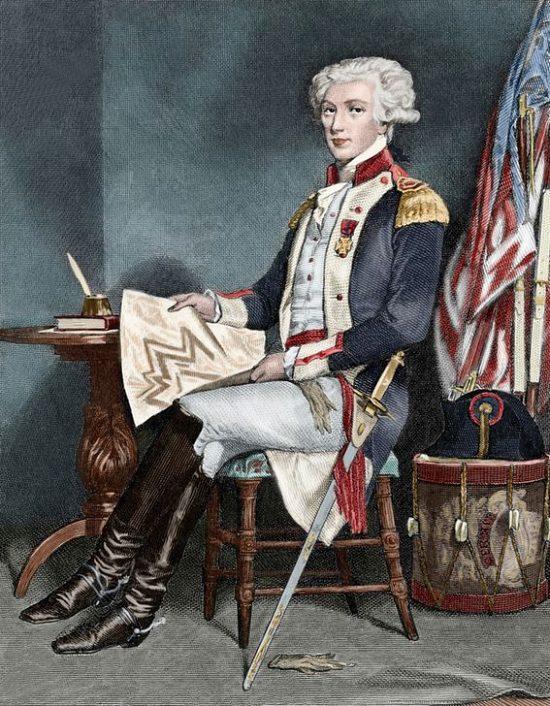 Le général La Fayette en Amérique. Gravure du XIXe siècle colorisée ultérieurement