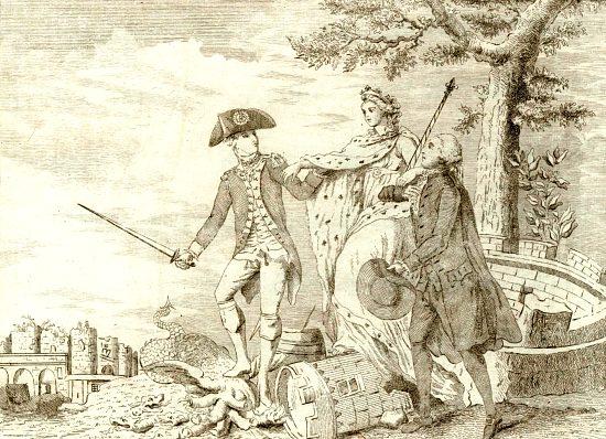 La France soutenue par messieurs Bailly et La Fayette sort glorieuse du tombeau creusé par le despotisme ministériel. Caricature de 1789-1790
