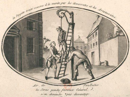 La Fayette traité comme il le mérite, par les démocrates et les aristocrates. Caricature de 1792