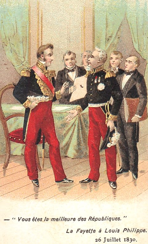 Vous êtes la meilleure des Républiques : La Fayette à Louis-Philippe, le 26 juillet 1830. Chromolithographie de 1890