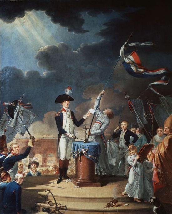 Serment de La Fayette à la Fête de la Fédération du 14 juillet 1790. Peinture de L. David (1791)