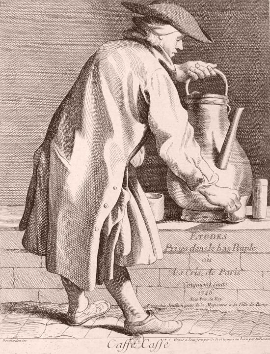 Marchand ambulant de café. Gravure d'Edmé Bouchardon de 1746 extraite d'Études prises dans le bas peuple ou Les cris de Paris